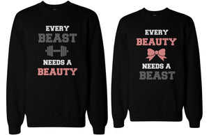 Beauty and Beast Need Each Other Matching Sweatshirts for Couples