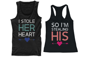 I Stole Her Heart, So I'm Stealing His Funny Matching Couple Tank Tops