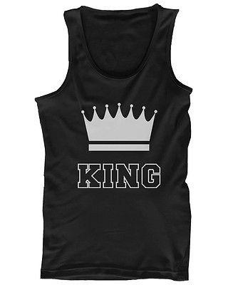 King and Queen Funny Couple Tank Tops Cute Matching Tanks for Couples