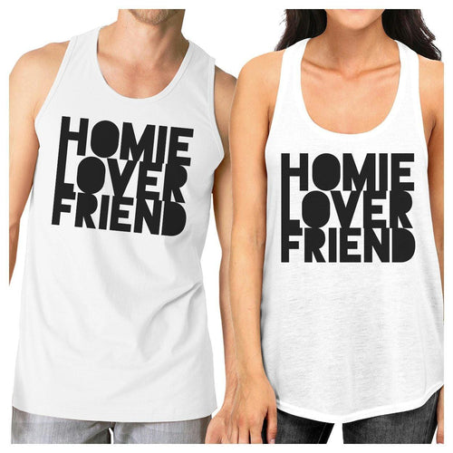 Homie Lover Friend Matching Couple White Tank Tops