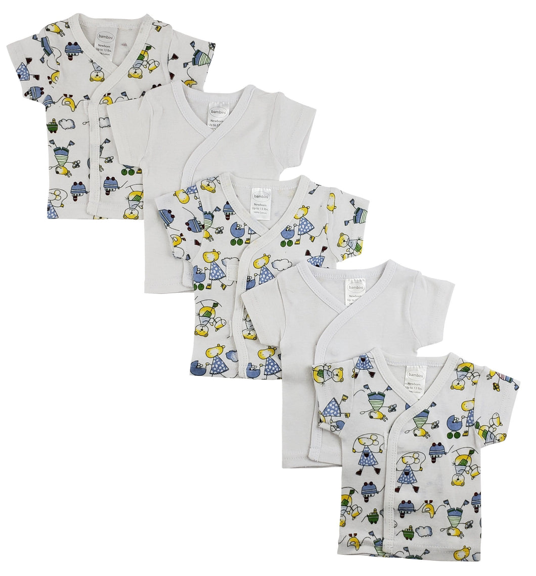 White Side Snap Short Sleeve Shirt - 5 Pack