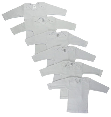 White Long Sleeve Lap T-shirts  6 Pack