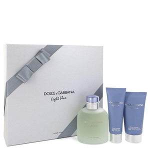 Light Blue by Dolce & Gabbana Gift Set -- 4.2 oz Eau De Toilette Spray + 2.5 oz After Shave Balm + 1.7 oz Shower Gel for Men