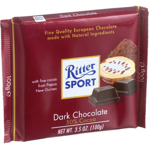 Ritter Sport Chocolate Bar - Bittersweet Chocolate - 50 Percent Cocoa - 3.5 Oz Bars - Case Of 12