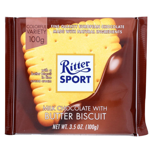 Ritter Sport Chocolate Bar - Milk Chocolate - Butter Biscuit - 3.5 Oz Bars - Case Of 11