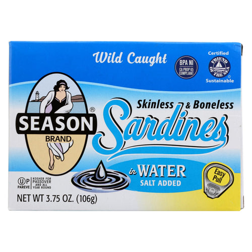 Season Brand Sardines - Skinless And Boneless - In Water - Salt Added - 3.75 Oz - Case Of 12