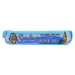 Season Brand Sardines - Brisling - Lightly Smoked - In Pure Olive Oil - Salt Added - 3.75 Oz - Case Of 12