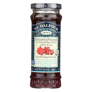 St Dalfour Fruit Spread - Deluxe - 100 Percent Fruit - Raspberry And Pomegranate - 10 Oz - Case Of 6