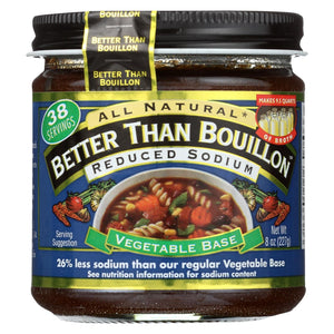 Better Than Bouillon Seasoned Vegetable Base - Reduced Sodium - Case Of 6 - 8 Oz.
