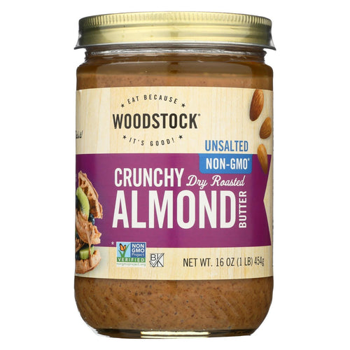 Woodstock Almond Butter - Crunchy - Unsalted - 16 Oz.