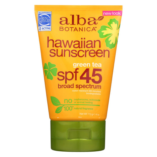 Alba Botanica - Hawaiian Green Tea Natural Sunblock Spf 45 - 4 Fl Oz