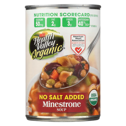 Health Valley Organic Soup - Minestrone, No Salt Added - Case Of 6 - 15 Oz.