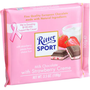 Ritter Sport Chocolate Bar - Milk Chocolate - Strawberry Creme - 3.5 Oz Bars - Case Of 12