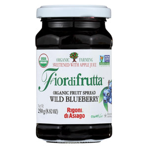 Fiordifrutta Organic Fruit Spread Wild Blueberry - Fruit Spread Wild Blueberry - Case Of 6 - 8.82 Oz.