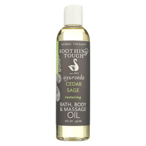 Soothing Touch Bath Body And Massage Oil - Restoring - Cedar Sage - 8 Oz