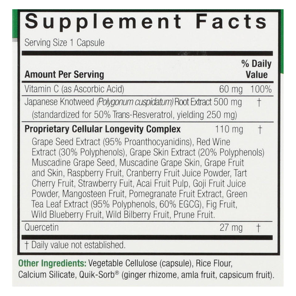 Nature's Answer - Resveratrol - 250 Mg - 60 Vegetarian Capsules