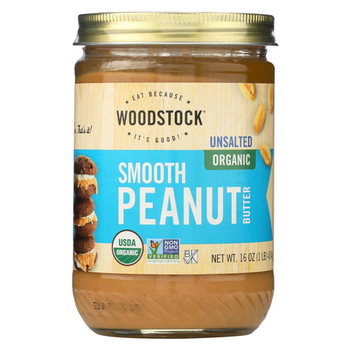 Woodstock Organic Peanut Butter - Smooth - Unsalted - 16 Oz.