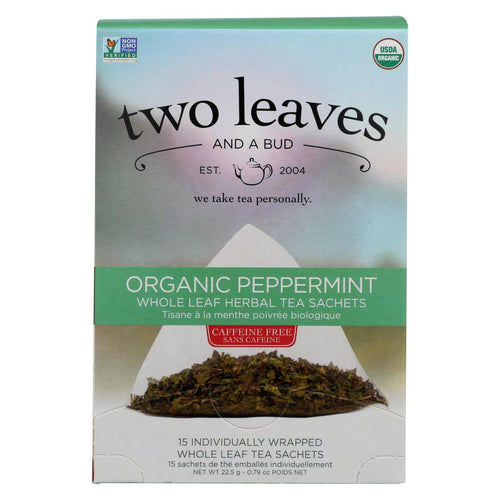 Two Leaves And A Bud Green Tea - Organic Peppermint - Case Of 6 - 15 Bags