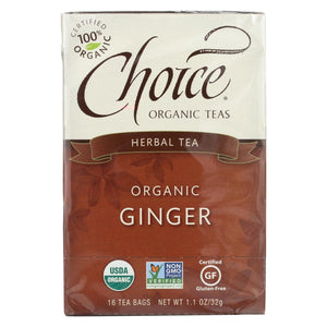 Choice Organic Herbal Tea - Ginger - Case Of 6 - 16 Bags