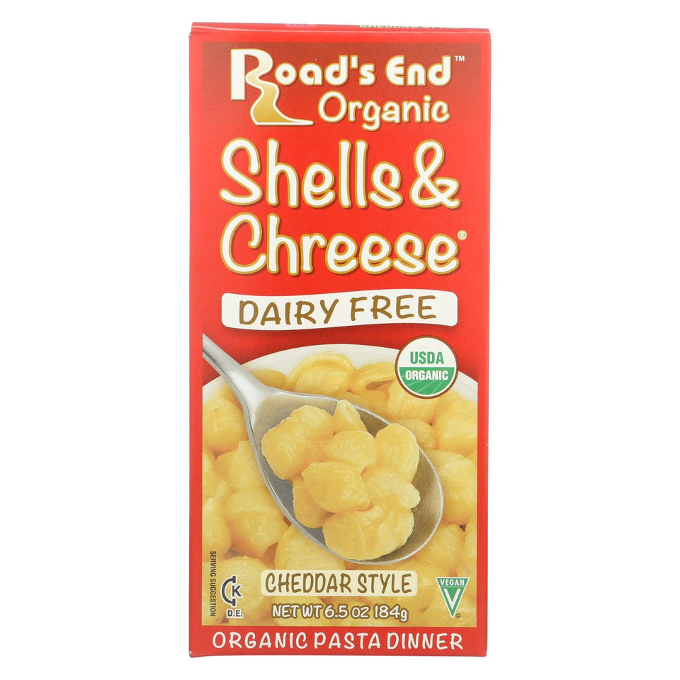Road's End Organics Shells And Cheese Pasta - Cheddar Style - Case Of 12 - 6.5 Oz.