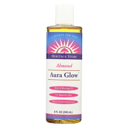 Heritage Store Body Oil - Aura Glow - Almond - 8 Oz - 1 Each