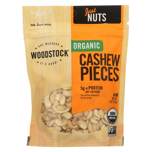 Woodstock Organic Cashews - Pieces - Raw - Case Of 8 - 7 Oz.