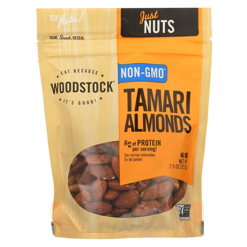 Woodstock Tamari Almonds - Roasted - Case Of 8 - 7.5 Oz.