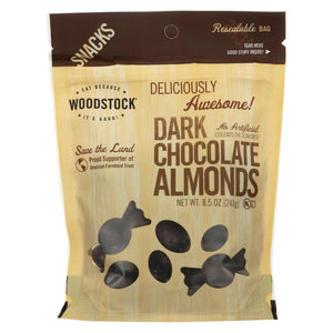 Woodstock Snacks - All Natural - Dark Chocolate Almonds - 8.5 Oz - Case Of 8