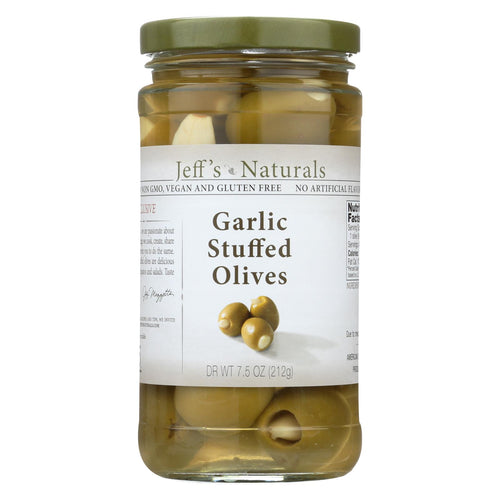 Jeff's Natural Jeff's Natural Garlic Stuffed Olives - Garlic Stuffed Olives - Case Of 6 - 7.5 Oz.