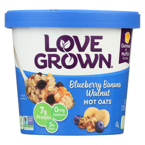 Love Grown Foods Hot Oats - Blueberry, Banana And Walnut - Case Of 8 - 2.22 Oz.