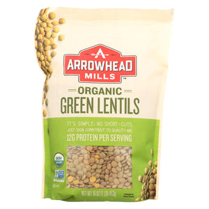 Arrowhead Mills - Organic Green Lentils - Case Of 6 - 16 Oz.