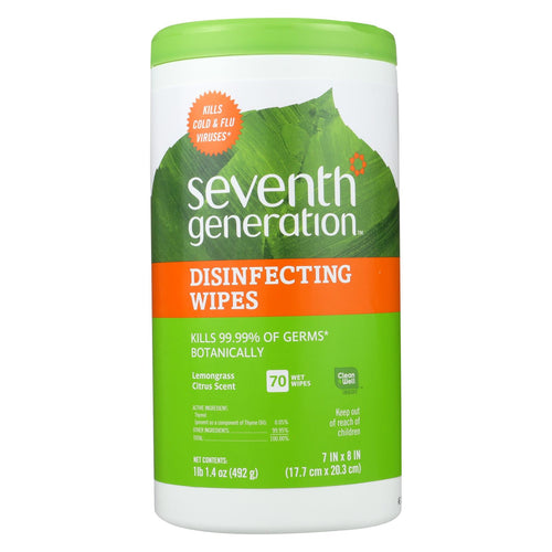 Seventh Generation Disinfecting Wipes Lemongrass And Citrus - 70 Wipes