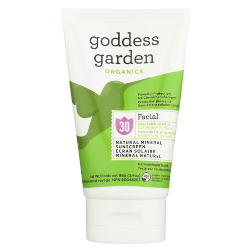 Goddess Garden Organic Sunscreen - Facial Spf 30 Lotion - 3.4 Oz