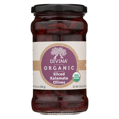 Divina - Organic Olives - Kalamata Sliced - Case Of 6 - 5.6 Oz.