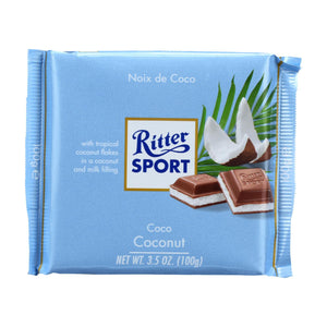 Ritter Sport Chocolate Bar - Milk Chocolate - Coconut - 3.5 Oz Bars - Case Of 12