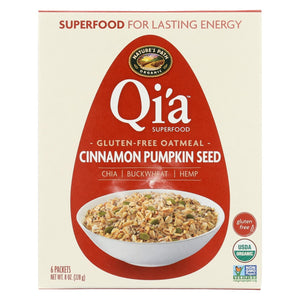 Nature's Path Organic Qi'a Superfood Hot Oatmeal - Cinnamon Pumpkin Seed - Case Of 6 - 8 Oz.