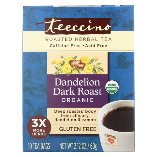 Teeccino Coffee Tee Bags - Organic - Dandelion Dark Roast Herbal - 10 Bags