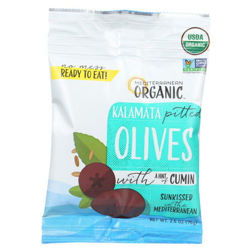 Mediterranean Organic Olives - Organic - Kalamata - Pitted - With Cumin - Snack Pack - 2.5 Oz - Case Of 12