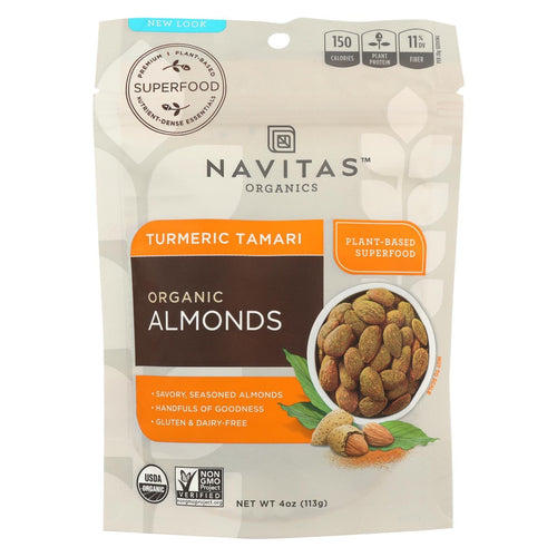 Navitas Naturals Almonds - Organic - Superfood Plus - Turmeric Tamari - 4 Oz - Case Of 12