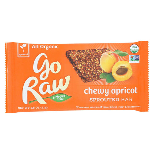 Go Raw - Organic Sprouted Bar - Chewy Apricot - Case Of 30 - 1.8 Oz.