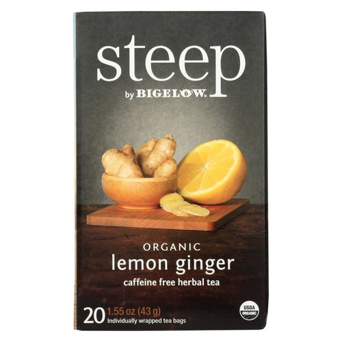 Steep By Bigelow Organic Herbal Tea - Lemon Ginger - Case Of 6 - 20 Bags