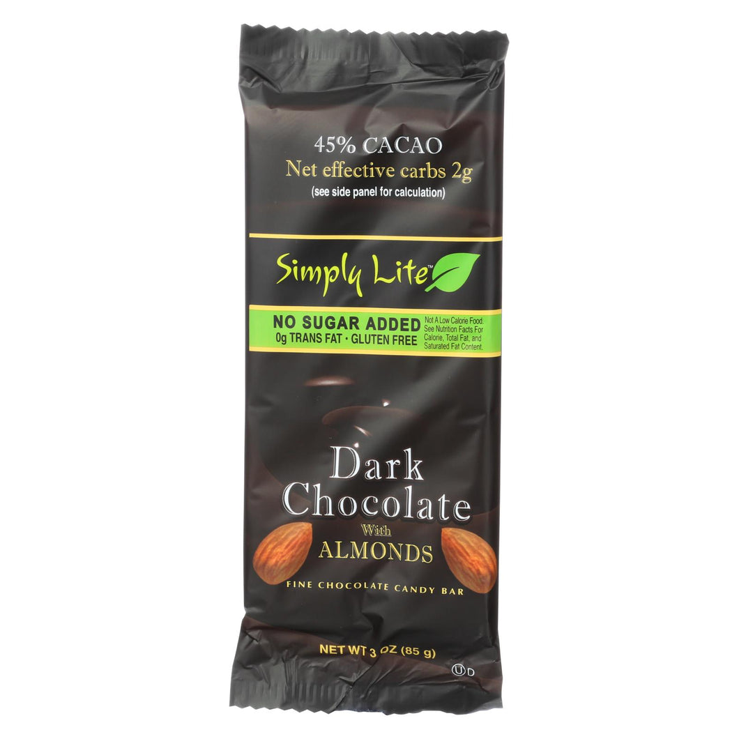 Simply Lite Dark Chocolate With Almonds Bar - Case Of 9 - 3 Oz.