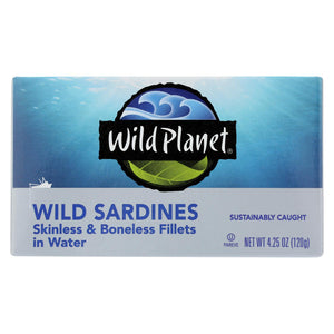 Wild Planet Wild Sardines - Skinless & Boneless Fillets In Water - Case Of 12 - 4.25 Oz