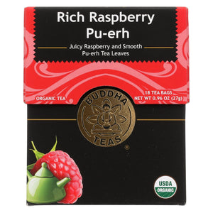 Buddha Teas - Organic Tea - Rich Raspberry Pu-erh - Case Of 6 - 18 Bags