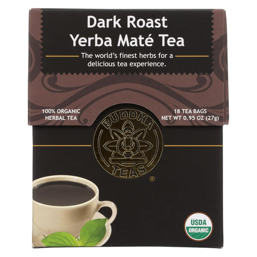 Buddha Teas - Organic Tea - Dark Roast Yerba Mate - Case Of 6 - 18 Bags