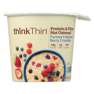Think! Thin Protein & Fiber Hot Oatmeal - Farmer's Market Berry Crumble - Case Of 6 - 1.76 Oz