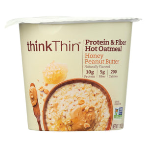 Think! Thin Protein & Fiber Hot Oatmeal - Honey Peanut Butter - Case Of 6 - 1.76 Oz