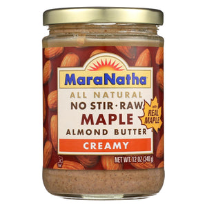 Maranatha Natural Foods Raw Maple Almond Butter - Creamy - No Stir - Case Of 6 - 12 Oz