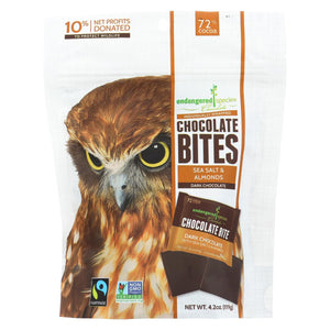 Endangered Species Chocolate Dark Chocolate Squares - With Sea Salt And Almonds - Case Of 12 - 4.20 Oz