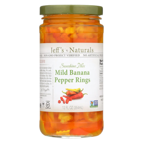 Jeff's Natural Banana Pepper - Mild - Sliced - Case Of 6 - 12 Fl Oz